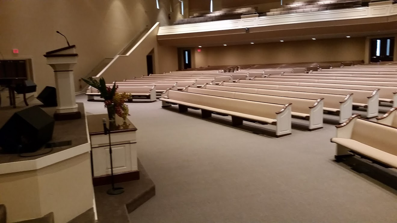 Picture of carpet cleaning job in the sanctuary at Eastern Shore Baptist Church in Daphne, AL. by Absolutely Kleen