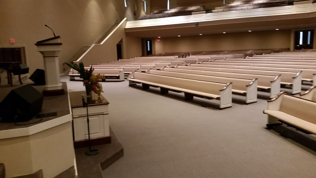 On this particular job Absolutely Kleen used the VLM process to clean the carpeting in the sanctuary at Eastern Shore Baptist Church.