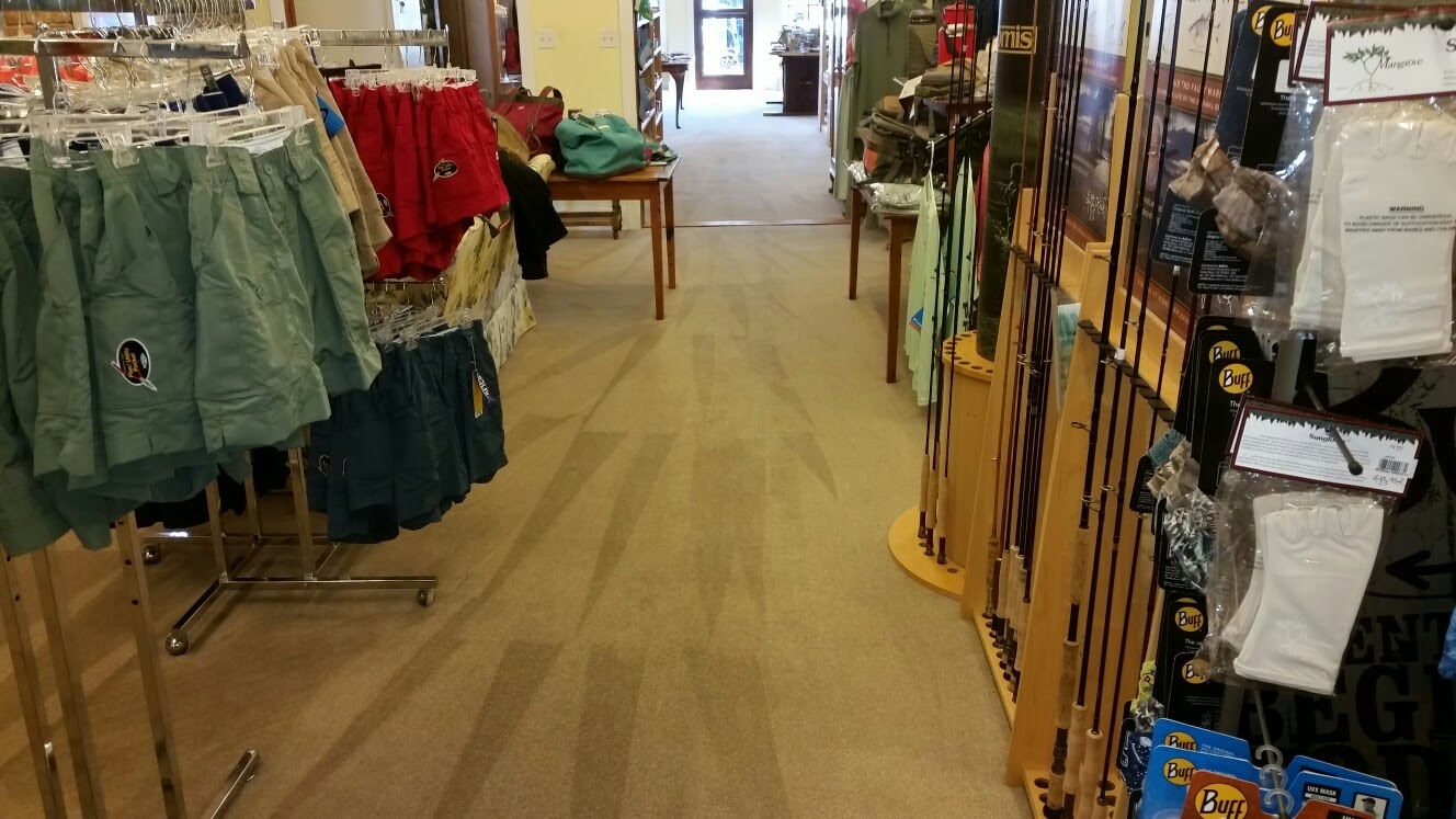 This carpet cleaning job was at the Church Mouse in downtown Fairhope, Alabama by Absolutely Kleen. This carpets in this storefront gets a lot foot traffic and drink spills. Absolutely Kleen cleans this carpet ever 12 to 16 months for the owner.